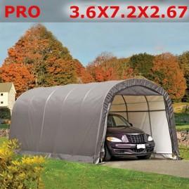 Тентовый гараж  3.6X7.2X2.67  PRO серый